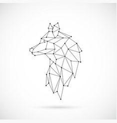 Illustration of Geometric Wolf silhouette. vector art, clipart and stock vectors. Wolf Silhouette, Silhouette Vector, Silhouette Painting, Geometric Wolf Tattoo, Geometric Drawing, Geometric Art, Geometric Animal, Geometric Sleeve, Stencil Lobo