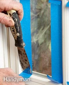 A quicker way to mask windows: Tape both sides of the glass, letting the ends run wild. Push the tape tightly into the corners with a flexible putty knife. Slice off the excess with a utility knife. Finish by taping at the top and bottom.
