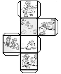 "Have students color, cut, fold, and paste to make a story cube that can be used to retell ""The Gingerbread Man"" and talk about 3D shapes. (K.RL.2) (K.G.5) Leave a comment if you would like to see other story cubes. I had fun creating the template! (Free pdf attached to easily print the template)"