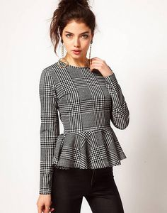 ASOS Top With Peplum In Dogtooth by ASOS