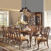 Kentwood Rectangular Double Pedestal Queen Anne Dining Set Faded Mahogany | Dining  Room Sets.