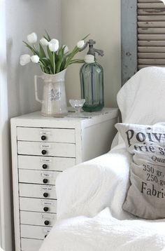White Tulips Jug Drawers Shabby Vintage Chic Filing Cabinet Bedside