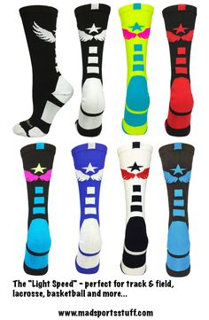 """A play on the international sign for Track & Field, the """"Light Speed"""" is a perfect sock for rocking the track, field or court...#MadSportsStuff"""