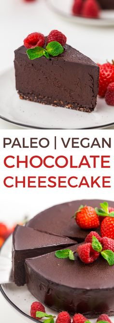 This paleo chocolate cheesecake is also vegan and super rich, creamy and decadent! Made with coconut milk, dates and coconut sugar, this no-bake cheesecake is a little healthier than a traditional one. #paleo #vegan #cheesecake #dessert #recipe #glutenfree