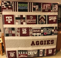 This layout would work out well if you only had a few t-shirts that coordinated well. Aggie T-shirt Quilt made by Cathy Hayes & Kristie Kissinger (MEMORY… Quilting Projects, Quilting Designs, Craft Projects, Sewing Projects, Diy Quilting, Craft Ideas, Quilting Ideas, Sewing Tips, Diy Ideas