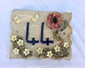 House number plaque, door numbers, address plaque, poppy design house number. - pinned by pin4etsy.com
