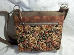 Crossbody VI Handbag in a brown, tan, and red paisley pockets, and a brown home decor. body and adjustable strap by ChickadeeHillDesigns on Etsy