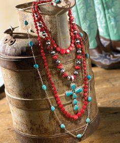 western jewelry display, fashion, coral, bead, turquoise
