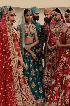 I love the green one! Sabyasachi is grand Indian Wedding Gowns, Indian Bridal Outfits, Indian Bridal Lehenga, Indian Bridal Fashion, Indian Bridal Wear, Indian Dresses, Asian Fashion, Punjabi Wedding, Pakistani Couture