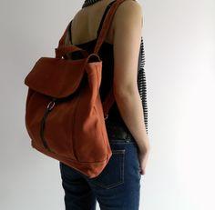 Tanya in Orange Pumpkin Backpack / Satchel Rucksack / Laptop