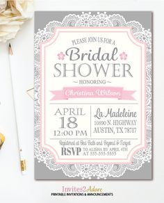 gray pink lace bridal shower invitation bridal shower invite printable shabby chic