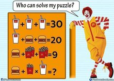 will fails to answer this funny mcdonalds math puzzle image question. Solve this math puzzle if your are genius! Only for geniuse puzzles image! Hello friends, try this interesting mcdonalds puzzles. find the value of Hamburger, fries and Math Resources, Math Activities, Fun Brain, Math Challenge, Math Questions, Maths Puzzles, 8th Grade Math, Basic Math, Thinking Skills