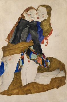 Egon Schiele, Kneeling Girls Embracing, 1911