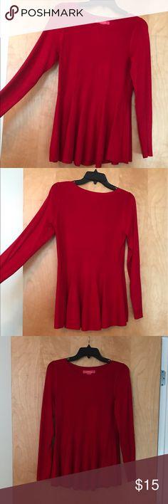 Catherine Malandrino Long Sleeve Peplum Shirt Long-sleeved red Catherine Malandrino peplum shirt worn once, quality like new. Catherine Malandrino Tops
