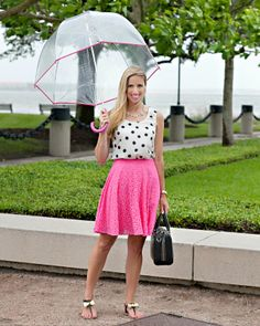 Pink Champagne: Rainy Days. Lace, polka dots, and umbrellas for a rainy day of shooing with Jaclyn L Photography in Charleston. Wearing Kate Spade and Lilly Pulitzer. #fashionblogger