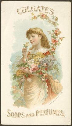Colgate's soaps and perfumes vintage advertising card, c. 1889
