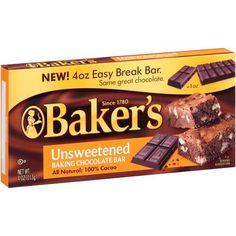 Baker's Unsweetened Baking Chocolate Bar, 4 Oz Baker's http://www.amazon.com/dp/B00EDEB6GQ/ref=cm_sw_r_pi_dp_S1xtvb10CSYRT