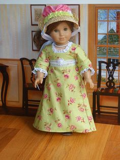 Historical Straw Bonnet /& Embroider Purse 18 in  Doll Clothes Fit American Girl