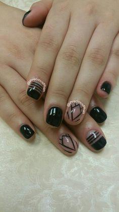 Precious Phan Nails. Negative space nails. Black nails.