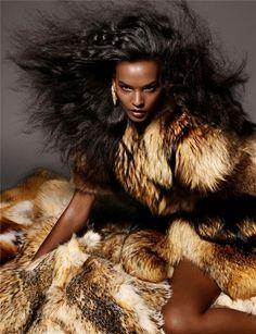 Liya Kebede draped in fur