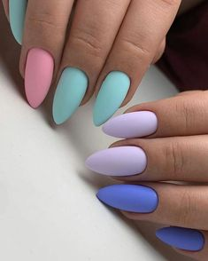 Matte nails should absolutely be at the top of your list for your next trip to the salon. As well as being on-trend they are also sleek, sophisticated and a more subtle option for professional babes. Pastel Nails, Cute Acrylic Nails, Cute Nails, Pretty Nails, My Nails, Dark Color Nails, Nail Photos, Types Of Nails, Stylish Nails