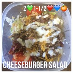 Serves 4 Container Equivalents (per serving): 2 Green, 1-1/2 Red, 1 Blue, 1 Orange SmartPoints- 11 (not counting dressing) // Ingredients 1 pound extra lean ground beef 8 slices of turkey bacon (2 …
