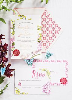 Your wedding stationery should reflect your theme. Ornate motifs and a casual font suggest a playful time ahead.