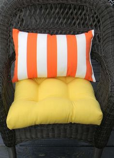 Indoor / Outdoor Wicker Cushion And Rectangle / Lumbar Pillow Set   Solid Yellow  Cushion And