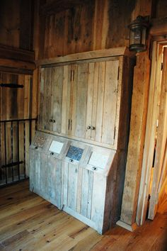 feed storage for inside the barn with a hutch above to store supplements and other necessities