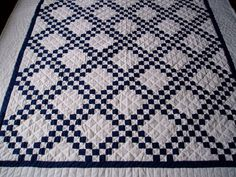 Navy Blue and White Quilt by JewelryPlusMore on Etsy, $185.00