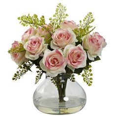 Nearly Natural Rose and Maiden Hair Floral Arrangement with Vase & Reviews | Wayfair