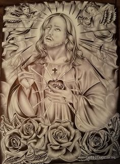 Christ and the sacred heart for Sale in Corpus Christi, TX - OfferUp Art Chicano, Chicano Tattoos, Body Art Tattoos, Holy Tattoos, Angel Back Tattoo, Jesus Tattoo, Devil Tattoo, Arte Lowrider, Heaven Tattoos