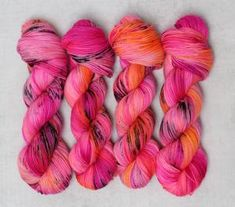 Hand Dyed Yarn, Coral, Neon, Stitch, Orange, Pink, Full Stop, Neon Colors, Pink Hair