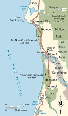 Pacific Coast: Jedidiah Smith Redwoods State Park to Redwood National Park map