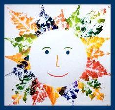 fall crafts Slunko z otisk Fall Arts And Crafts, Autumn Crafts, Fall Crafts For Kids, Autumn Art, Nature Crafts, Toddler Crafts, Art For Kids, Autumn Activities, Art Activities
