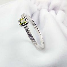 Olivine Zirconia Sterling Silver Ring #Gemstone #Jewellery