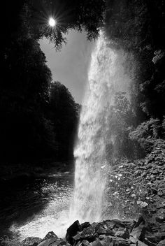 Behind Hardraw Force, a waterfall in the Yorkshire Dales, England. Black & white photo by Ben Pearey.