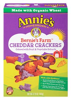Your favorite Cheddar Bunny taste is hopping onto the farmyard in playful cracker shapes, including a cow, tractor, barn, chicken and more! Made with organic wheat, 100% real cheese and colored from fruit and vegetable extracts like blueberry, beet and carrot, great-tasting new Bernie's Farm® Cheddar Crackers are a playful way to connect kids to real food and farm experiences during snack-time. Also available in a ...