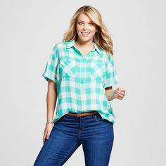 Women's Plus Size Short Sleeve Popover Button Down - Merona Tumble Green 4X
