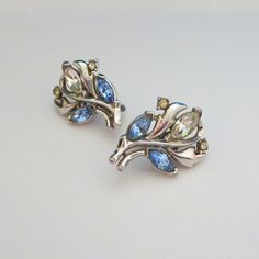 Vintage Trifari Rhinestone Earrings, Clear Pale Blue Rhinestones,... ($11) ❤ liked on Polyvore featuring jewelry and earrings