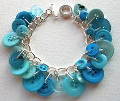 Ocean blue aqua button charm bracelet.