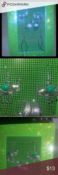 Simple, pretty earrings Elephants have dark grey eyes, intricate details, and faux turquoise, silver hoops are cut so they're bright and shiney, curved lines are simple elegance. $6ea, 2 $10, all $13. Pierced ears. Jewelry Earrings