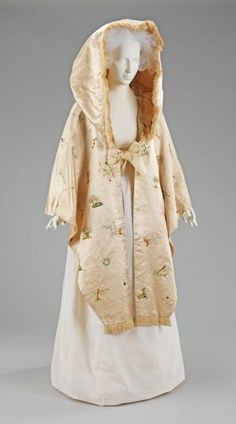 "Cape ca. 1795-1800 via The Costume Institute of The Metropolitan Museum of Art    ""The extraordinary embroidery of this cape shows the delight of the British in the age-old tradition of representing nature in embroidery. The whimsy and pleasure expressed in the embroidery is evident."""
