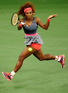 World #1 Serena Williams - U.S. Open: Day 1. Floating like a butterfly but stinging like a bee! Serena won her 1st round match v Franci Schiavone 6-0, 6-1. #Lovely