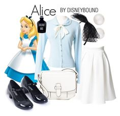 """""""Alice"""" by leslieakay ❤ liked on Polyvore featuring Disney, Majorica, New Look, MICHAEL Michael Kors, disney, disneybound and disneycharacter"""