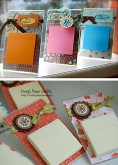 Clear Frames + Scrapbook Paper + Post-It + Ribbon and Tag = Cute and Inexpensive Gifts:
