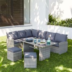 Find Matara Rattan Corner Sofa Dining Garden Furniture Set in Grey at Homebase. Visit your local store for the widest range of garden & outdoor products. Corner Sofa Garden, Rattan Corner Sofa, Garden Sofa Set, Garden Seating, Grey Rattan Garden Furniture, Garden Furniture Sets, Outdoor Furniture Sets, L Shaped Sofa Designs, Haus Am See