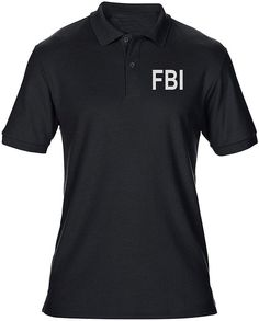 FBI Federal Bureau onderzoek tekst geborduurd Logo - Mens poloshirt | Fruugo