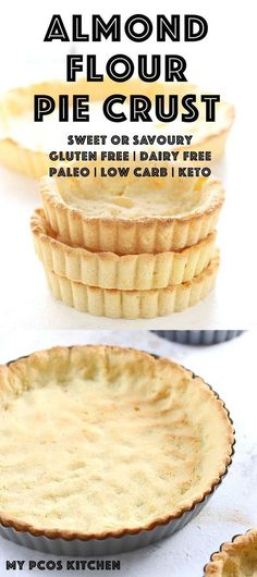 Low Carb Keto Almond Flour Pie Crust - My PCOS Kitchen - A delicious gluten free pie crust that can also be made dairy free and paleo. For quiche