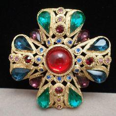 Maltese Cross Pin Multi Colored Stones Vintage Brooch | eBay